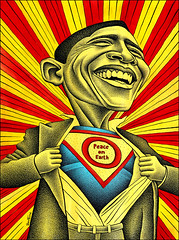 Barack Obama Vs the Fear (Ben Heine) Tags: red portrait usa afghanistan black art smile smart yellow watercolor painting print freedom costume illinois support election noir power drawing miracle senator fear faith president iraq traditionalart explosion gap superman smoking peinture libert experience foi caricature editorial change elegant dots copyrights lachen politique sourire democrat challenge supporters citizens talented kryptonite career efficiency number1 pointillism dguisement barackobama politicalart prsidence moveonorg difficulties skilled effective worldwideweb pouvoir veston tatsunis pointillisme sfgatecom markmorford benheine bushlegacy barackhusseinobama 44thpresident popularit infotheartisterycom
