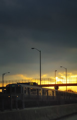 out of the sunset (charlesgyoung) Tags: sunset chicago driving d2x el