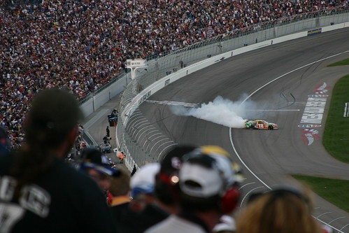 Kyle Busch did an awesome burn out...then jumped out of the car and actually kissed the start finish line. I think he was pleased to win in front of his home town crowd.