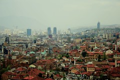 Sarajevo Skyline, Bosnia and Herzegovina (ucmediaproducties) Tags: city travel skyline media europa europe cityscape view sarajevo bosnia churches mosque balkans uitzicht uc productions 2009 mosques balkan reizen travelphotography bosniaandherzegovina oosteuropa 5photosaday oostblok bosni reisfotografie producties ucmedia ucutrecht ucmediaproducties europeeasterneurope