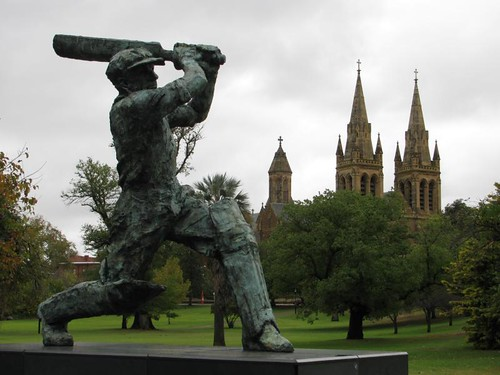 cathedral and Donald bradman statue