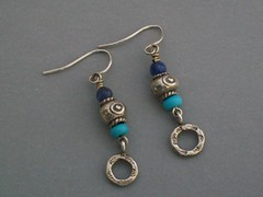 Blues and Silver Earrings (sweetanniesjewelry) Tags: blue sodalite sterlingsilver chalkturquoise hilltribessilver