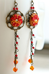 it's hot outside earrings (Chili Crab) Tags: flowers red summer orange leaves yellow chili crystal handmade ooak earring crab jewelry kind fimo clay etsy brass 2009 filigree polymer swarovsky