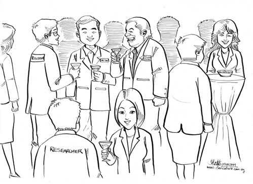 Cartoon illustration for Daxone Dumex Singapore - building relationship (networking