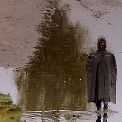 Puddle Portrait (globalrain) Tags: optical hoody bookcover illusions zeitgeist dortmund rainwear komposition enigmatic artbook duplicity photodesign photogallery selbstportrt klepper pftze virtuell puddlereflection abstraktion 30000views adifferentpointofview abbild uniquecreations rainpuddles specialpicture conceptualportrait puddlepicture world100f texturesquared globalrain theflickrcollection oracosm universeofphotography