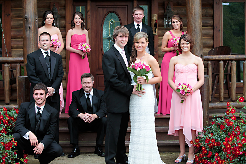 the wedding party all dressed in pink