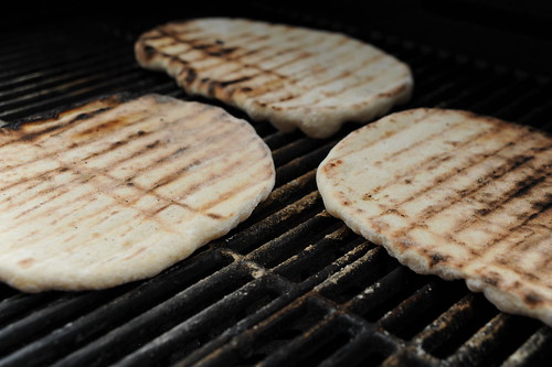 Pizza dough grilling
