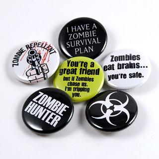 Zombie Apocalypse pinback button 6-pack