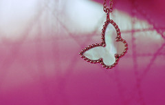(heartbreaker [London]) Tags: pink paris cute butterfly bag gold necklace sweet girly mother collection alhambra pearl van mop dior vca cleef arpels
