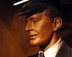 and the train conductor says, nothing (t knouff) Tags: shadow mannequin museum train colorado display tie ear collar dummy conductor displaycase vintageclothing dsng trainconductor