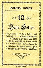 Goisern, 10 heller, 1920 (Iliazd) Tags: old money klemens austria sterreich heller token 1920 autriche brosch notgeld notaphily sterreichisches paranumismatica emergencymoney