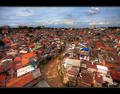 Tiled Roofs of Bandung - HDR (Dale Allman) Tags: house colour water stone clouds canon river indonesia rocks wideangle tiles bandung hdr highdynamicrange 1740 photomatix jawabarat canon5dmkii 5dmkii