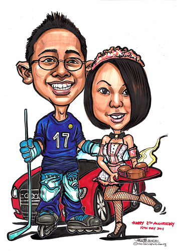 Hockey player and French maid couple caricatures