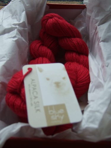 Red alpaca silk