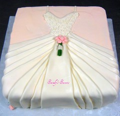 Bridal Shower Cake (Sandy's Sweets) Tags: weddingdress fondant bridalbouquet bridalshowercake