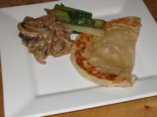 roti, gailan and a mushroom masala
