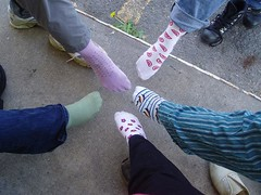 Pic_2 (jordajw) Tags: feet socks five parking lot dandelion sidewalk jeans denim pajama hokeypokey strangebuttrue sockparty colorfulsocks funwithsocks lis5403sp09