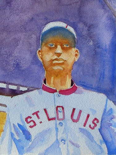 Steve Penberthy - Watercolor Painting : George Baumgardner, St. Louis Nationals (AL), 1912