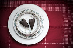 (Rebecca Tabor Armstrong) Tags: red stilllife food 35mm hearts dessert yummy sweet chocolate sugar delicious hersheys plates dishes tablecloth edible valentinesday f20 february14th happyvalentinesday reesespeanutbuttercuphearts