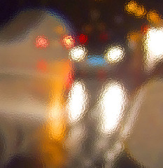 Caught In the Headlights - Squared (virtually_supine popping in and out) Tags: blue light red orange abstract colour rain yellow night reflections droplets streetlights manipulation layers filters squared carheadlights photoshopelements5 photoshopelements7 ministract frostedglassfilter