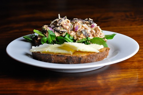 Tuna with red onion, walnuts, olives, watercress and farmhouse cheddar on whole wheat