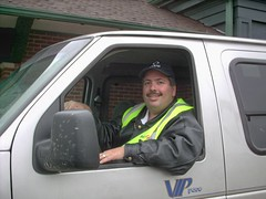 Eddie K in training as a Paratransit Driver. Lincolnshire Illinois. March 2008.