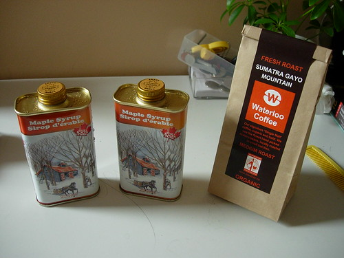 maple syrup and waterloo coffee