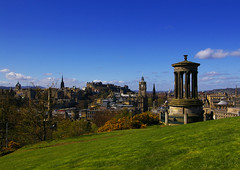 Edinburgh from Calton Hill (albireo2006) Tags: uk greatbritain blue wallpaper sky wow scotland edinburgh day alba unitedkingdom britain background clear caltonhill ecosse scozia dugaldstewartmonument kartpostal justpentax hccity