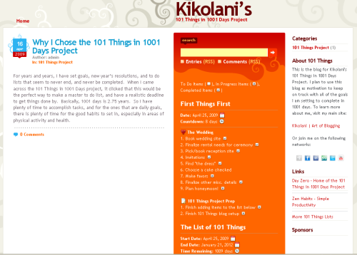 Screenshot of Kikolani's 101 Things in 1001 Days Project Site