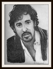 Bruce Springsteen by snc145 -  A Scan Of A Pencil Drawing (snc145) Tags: people music men art rock pencil portraits beard faces artistic drawings legends singers celebrities 1995 mustache brucespringsteen professionals entertainers onlythebestare memorycornerportraits flickrunitedaward stevenchateauneuf