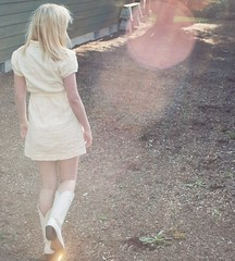 awaiting summer (stefanie/) Tags: summer portrait sun yellow self lens cowboy dress bright boots country sunny flare cowgirl stefanie mcintire