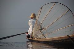 On the lake (Aafke Marije) Tags: water boat fishing nikon fishermen burma myanmar inlelake d40 abigfave superaplus aplusphoto lpfloating