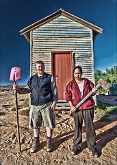 Australian Gothic (heritagefutures) Tags: world park door wood pink red lake holiday art heritage apple station architecture darkroom digital rural sand aperture nikon iron play sheep graphic grant gothic shed australian lifestyle australia tokina 124 hut national american nsw area axe housing vernacular parody spoof shovel aboriginal accommodation quarters corrugated iconography shearing reference indigenous allusion imitation mungo corrugatediron 1930 topaz conditions adjust grantwood willandra cs3 shearer tokinaatx124 balranald d80 koorie shearers willandraworldheritagearea leaghur leaghurstation potsprocessing