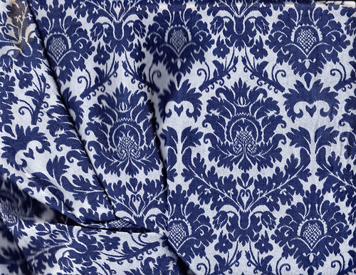 Blue Stretch Damask
