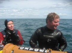 divers aboard (squeezemonkey) Tags: sea clouds divers oxygen littlehampton drysuits othree o2kit holborndiver