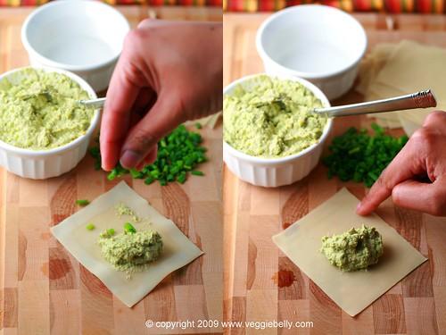 Edamame Walnut Ravioli with Spinach Mushroom Saute