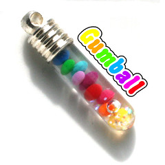 Rainbow Gumball Snow Globe 1 inch Vial Charm Necklace