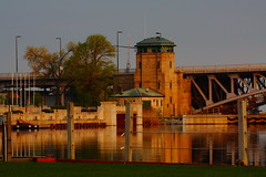 Stillness of a New Morning! (p.csizmadia) Tags: bridge ohio reflection water golden morninglight blackriver oh lorain bascule bridgetower csizmadia westernspan charlesberry pcsizmadia charlesjberry