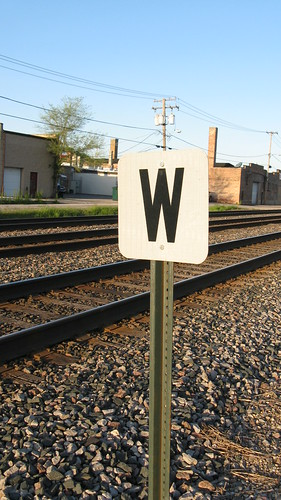 Whistle post east of the 73rd Avenue railroad crossing. Elmwood Park Illinois. May 2009.