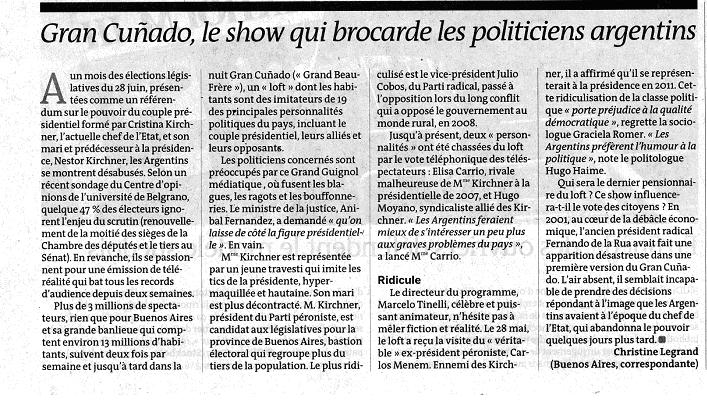 Article de l'edition papier du Monde