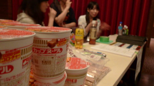 A stack of cup noodles