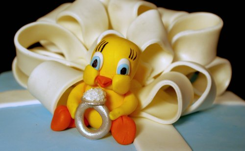 Tweety Bird Bridal Shower Cake Close-Up