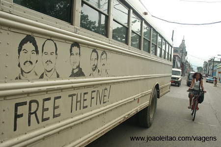 Free the Five Cuban American School Bus Propaganda in Guatanamo Street