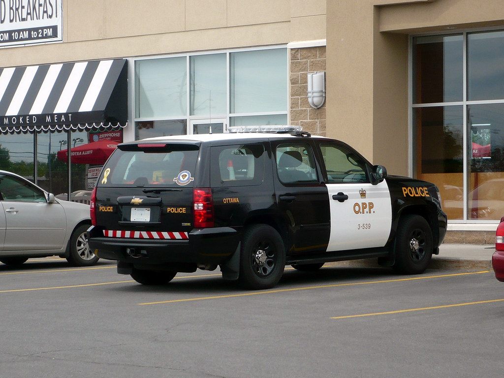 An OPP Chevy Tahoe police SUV.