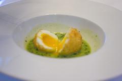 panko crusted soft boiled egg in pea pistou 2