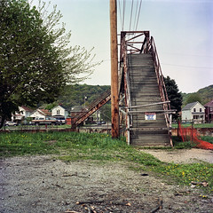 Landscape #62 (michaelgoodin) Tags: bridge urban abandoned 120 6x6 tlr film mediumformat landscapes pittsburgh kodak pennsylvania may pedestrian chemistry portra 2010 yashicamat c41 coraopolis 160nc unicolor newtopographics