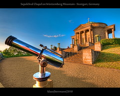 Sepulchral Chapel on Württemberg Mountain - Stuttgart, Germany (HDR) (farbspiel) Tags: blue red colour reflection rot history tourism colors sunshine yellow photoshop germany geotagged photography nikon colorful king colours stuttgart tripod tomb wideangle bluesky historic telescope gelb mystical colourful blau grab depth dri blauerhimmel deu hdr highdynamicrange farben fernrohr sonnenschein superwideangle workflow könig niceweather 10mm postprocessing badenwürttemberg württemberg wilhelmi dynamicrangeincrease ultrawideangle d90 schöneswetter photomatix tonemapped tonemapping farbenpracht grabkapellewürttemberg stuttgartrotenberg detailenhancer grabkapelleaufdemwürttemberg sepulchralchapel topazadjust grabkapellerotenberg topazdenoise klausherrmann topazsoftware sigma1020mmf35exdchsm hdrworkflow topazphotoshopbundle geo:lat=4878180734 geo:lon=926836118 württembergmountain