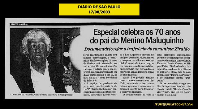 """""""Especial celebra os 70 anos do pai do Menino Maluquinho"""" - Diário de São Paulo - 17/08/2003"""
