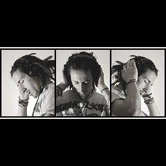 Triptych Headphones (D A M R O W N E Y) Tags: portrait blackandwhite bw music colour adam classic texture me rock metal dreadlocks digital self beard freedom three concentration dance triptych darkness border highlights sharp passion headphones bracelets euphoria dreads base trance dubstep stubble deepthought backtoback sharpness explored adamrowney
