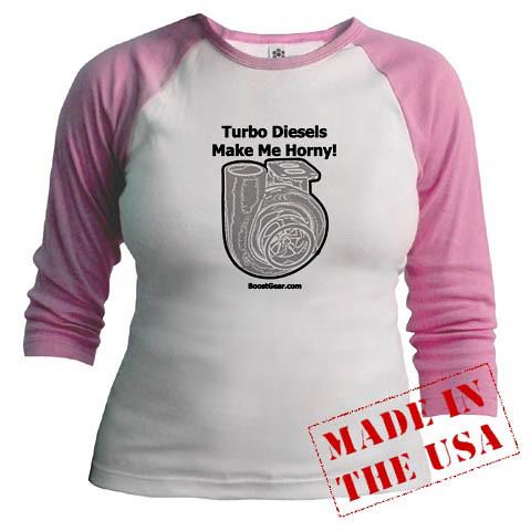 Turbo Diesels Make Me Horny - Pink Jr Raglan Shirt - BoostGear by BoostGearcom